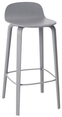 Mobilier - Tabourets de bar - Tabouret de bar Visu / Bois - H 75cm - Muuto - Gris / Repose-pieds gris - Acier verni, Frêne verni