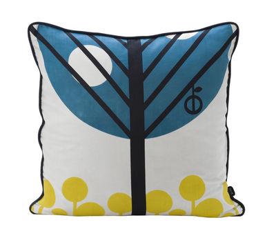 Déco - Coussins - Coussin Apple / 50 x 50 cm - Ferm Living - Bleu pétrole, noir & jaune - Dos noir - Soie