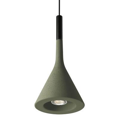 Suspension Aplomb LED / Ciment - Ø 17 cm x H 36 cm - Foscarini vert olive en pierre