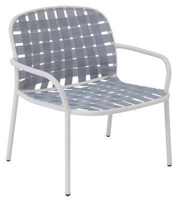 Poltrona bassa Yard / Cinghie elastiche - Emu - Bianco,Grigio - Tessuto