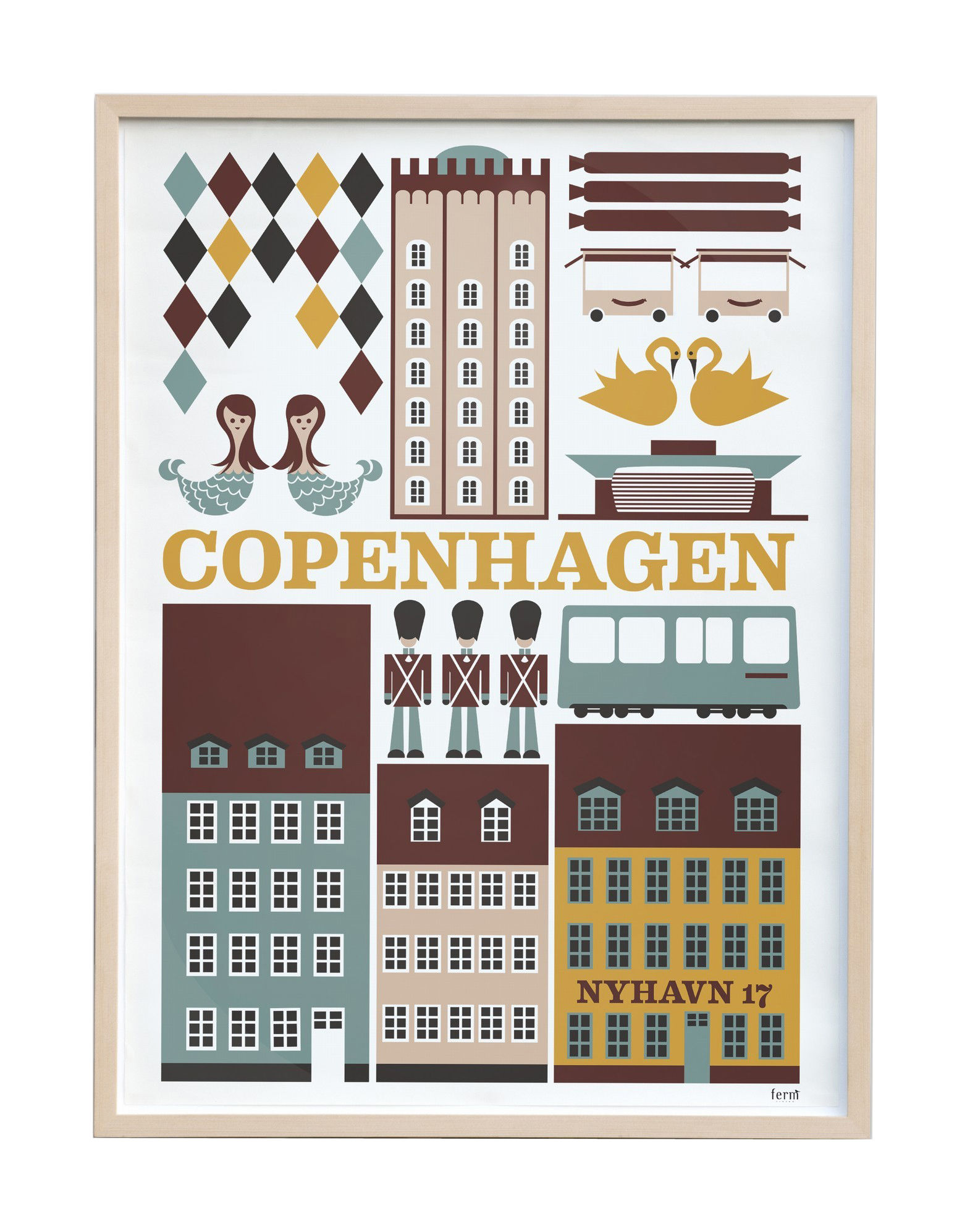copenhagen poster 30 x 42 cm 29 7 x 42 cm multicoloured by ferm living. Black Bedroom Furniture Sets. Home Design Ideas