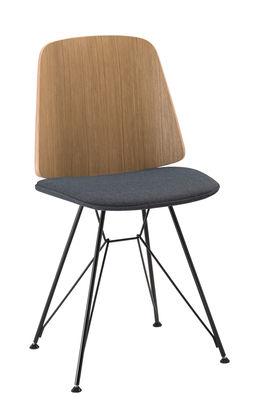 Mobilier - Chaises, fauteuils de salle à manger - Chaise June / Piètement Tour Eiffel - Tissu & Bois - Zanotta - Assise bleue / Piètement noir/ Dossier chêne naturel - Acier verni, Chêne verni, Tissu