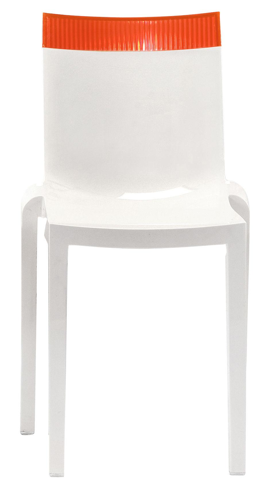 Chaise empilable hi cut blanche polycarbonate blanc laqu orange kartell - Chaise polycarbonate blanche ...