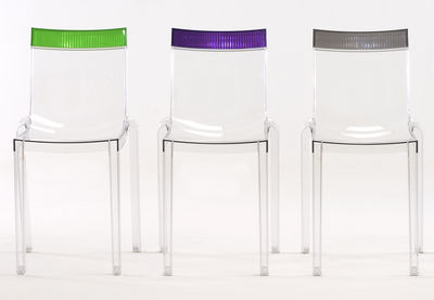 Hi Cut Stacking chair - Transparent polycarbonate Cristal / orange by Kartell