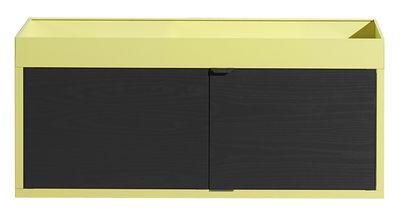 Mobilier - Etagères & bibliothèques - Rangement mural New Order / Console - L 100 x 43,5cm - Hay - Jaune / Caisson noir - Aluminium peint, Frêne teinté