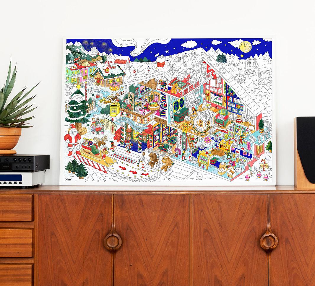 poster colorier l 39 atelier du p re no l 100 x 70 cm avec stickers phosphorescents atelier. Black Bedroom Furniture Sets. Home Design Ideas