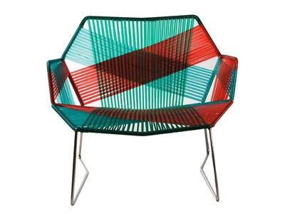 Jardin matières UK - Weaving UK - Fauteuil bas Tropicalia avec accoudoirs - Moroso - Motifs jungle / Structure inox - Acier inoxydable