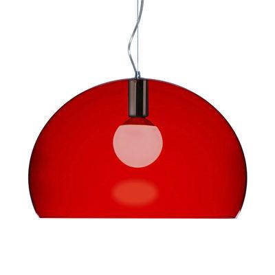 Foto Sospensione FL/Y Small - Small / Ø 38 cm di Kartell - Rosso - Materiale plastico