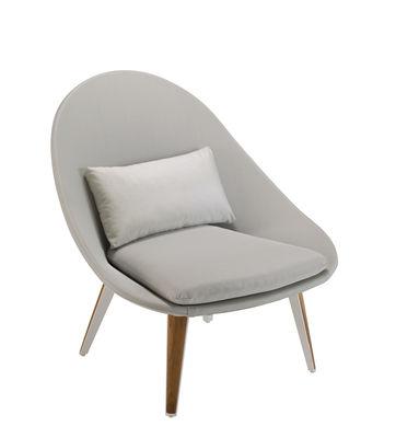 Vanity Lounge Sessel / gepolstert - Textil & Teak - Vlaemynck - Weiß,Hellgrau,Teak