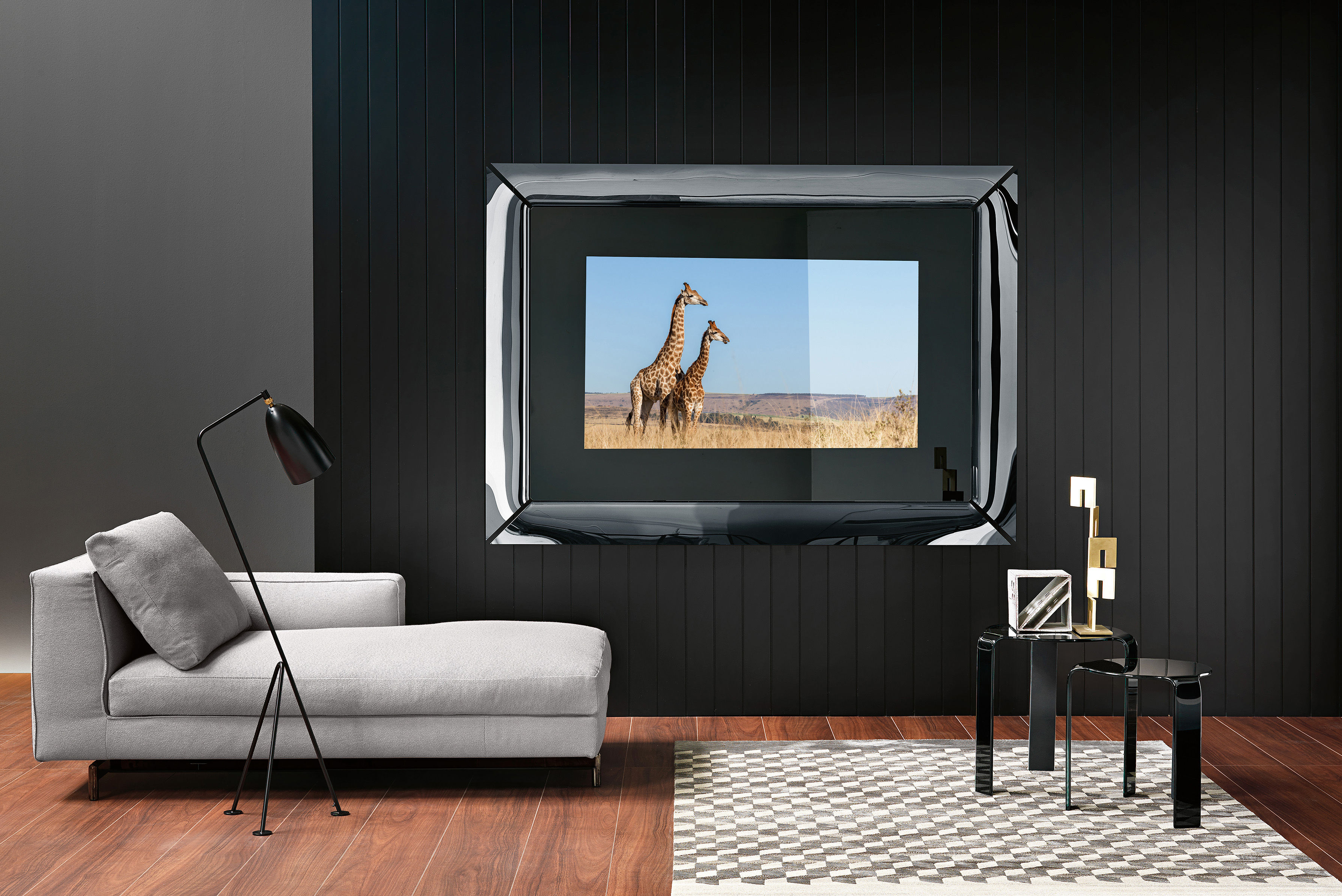 Caadre tv wall mirror frame titanium black by fiam for Miroir caadre philippe starck