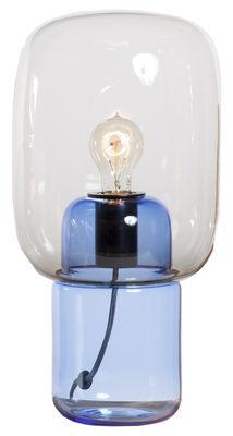 Luminaire - Lampes de table - Lampe de table Bob / H 45 cm - Gallery S.Bensimon - Base bleue / Transparent - Verre soufflé moulé