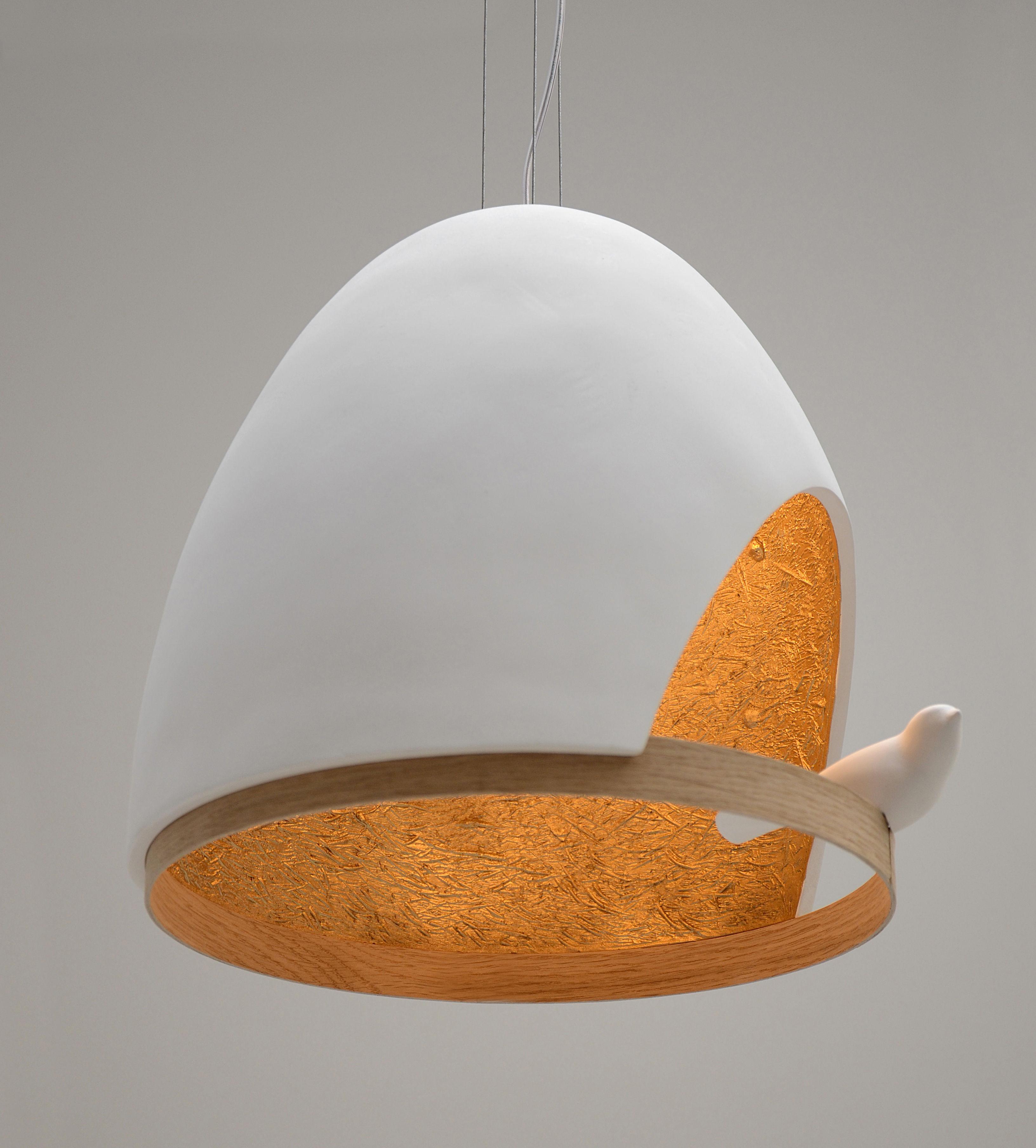 oiseau pendelleuchte aus gips wei innenseite goldfarben by compagnie made in design. Black Bedroom Furniture Sets. Home Design Ideas