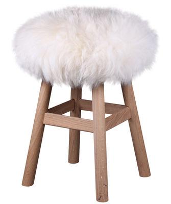 Housse de tabouret top moumoute peau de mouton v ritable poils courts bla - Coussin fourrure ikea ...