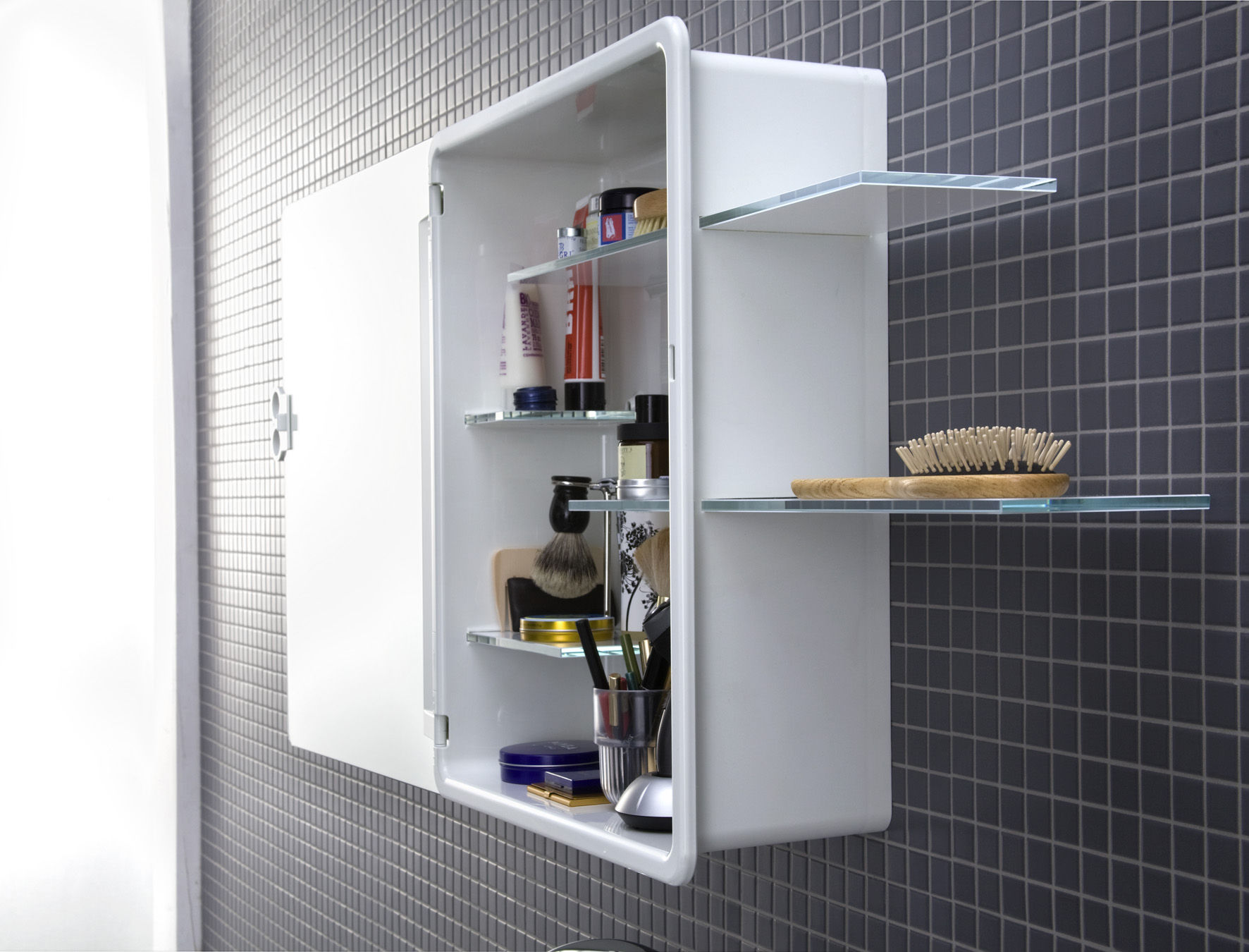 Kali bathroom cabinet mirror cabinet white by authentics for Bathroom cabinets 50cm wide