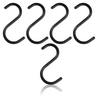 Déco - Portemanteaux et patères - Crochet S-HOOK Small / H 10 cm - Set de 5 - Nomess - Noir - Aluminium peint