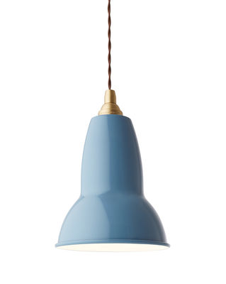 Luminaire - Suspensions - Suspension Original 1227 Laiton / Métal - Ø 15 cm - Anglepoise - Bleu / Câble chocolat - Aluminium, Laiton