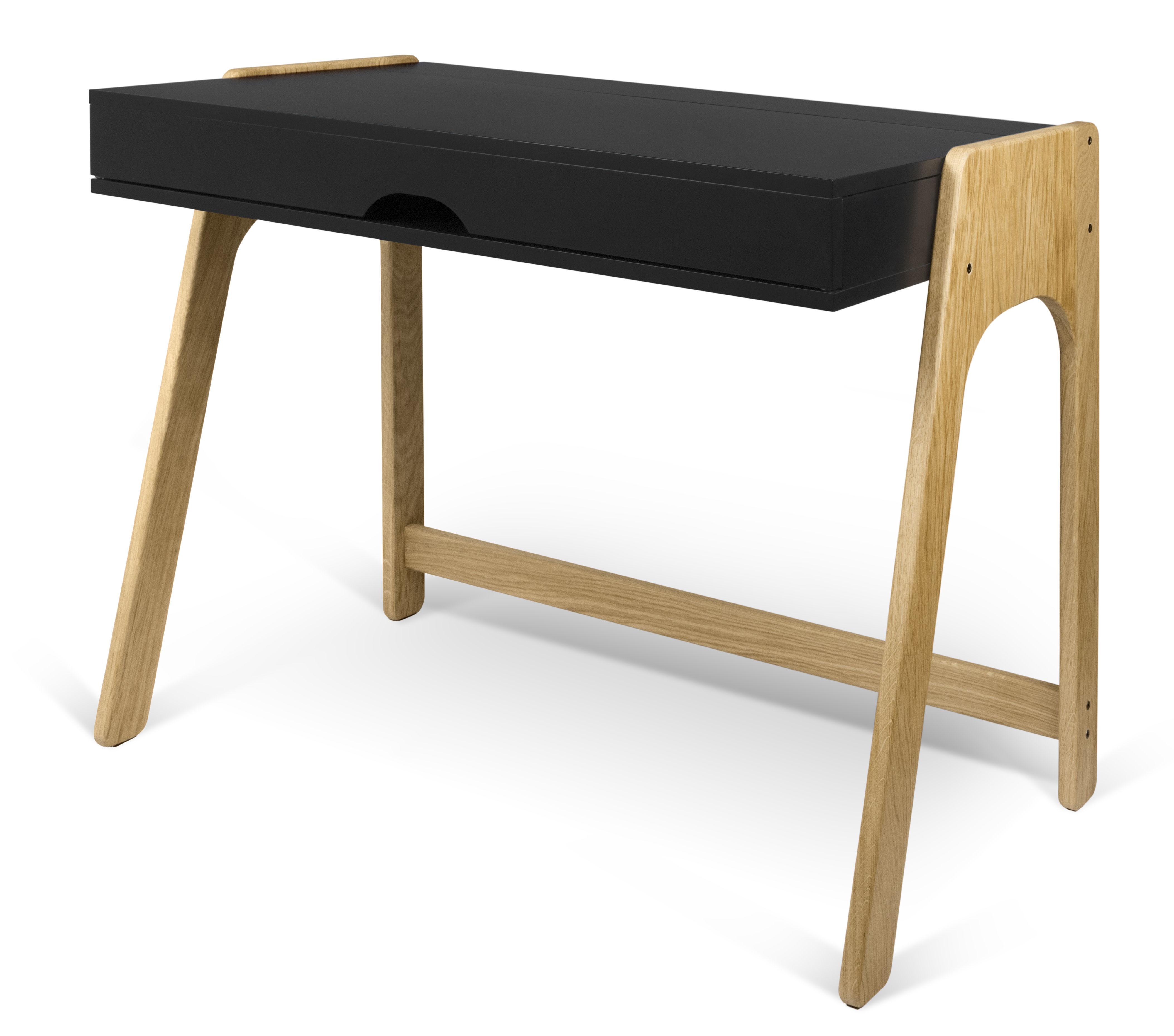 bureau willbe secr taire plateau rabattable noir ch ne pop up home. Black Bedroom Furniture Sets. Home Design Ideas