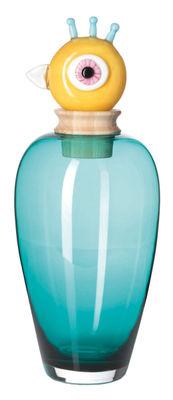 Déco - Vases - Vase Papageno Peppe / Bocal - H 45 cm - Fait main - Leonardo - Bleu / Bouchon jaune - Bois, Verre