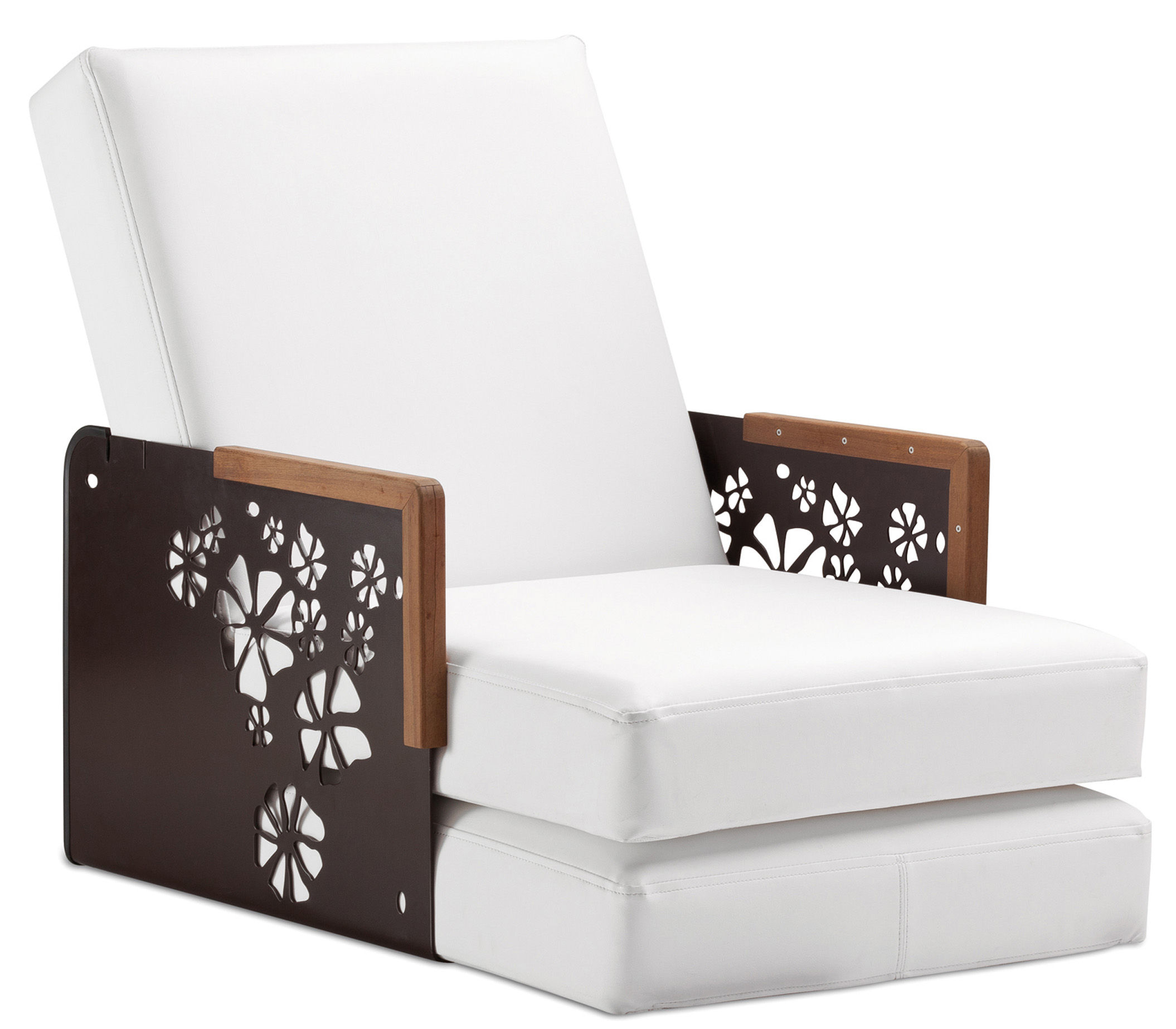 chauffeuse convertible kube bain de soleil table basse structure argent avec angles blancs. Black Bedroom Furniture Sets. Home Design Ideas
