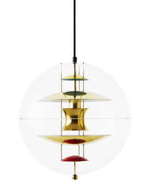 Luminaire - Suspensions - Suspension VP Globe / Ø 40 cm - Panton 1969 - Verpan - Transparent / Laiton, orange & bleu - Acrylique, Aluminium