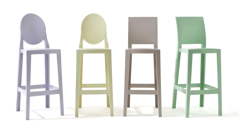 Chaise de bar one more h 65cm plastique cristal kartell for Chaise 65 cm design