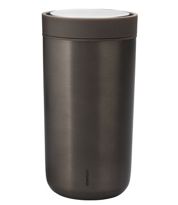 Tableware - Coffee Mugs & Tea Cups - To Go Click Insulated mug - / Wide - 34 cl - Limited edition by Stelton - Metallic brown - Plastic material, Stainless steel