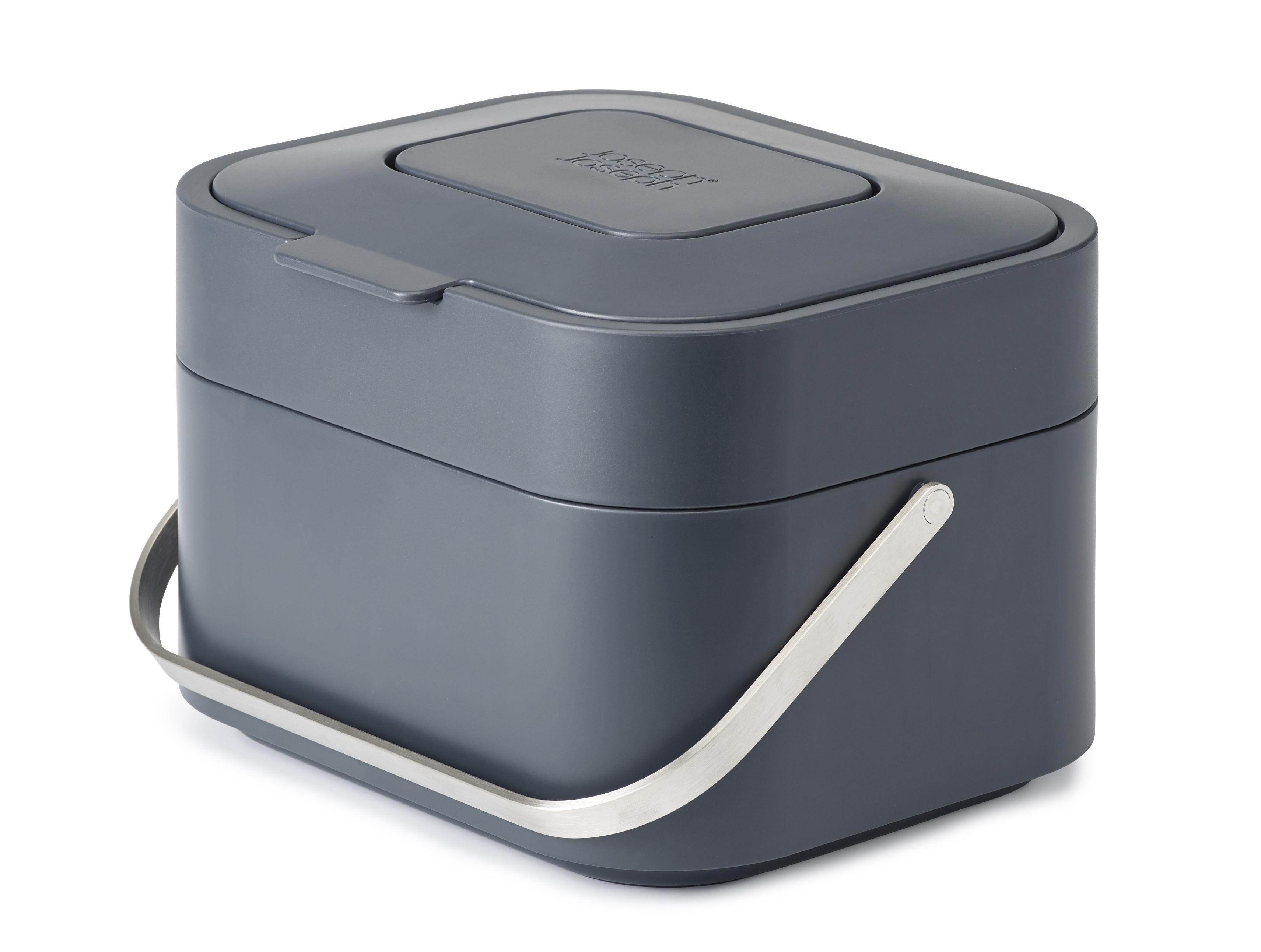 poubelle de tri stack 4 litres pour d chets organiques filtre anti odeurs anthracite. Black Bedroom Furniture Sets. Home Design Ideas