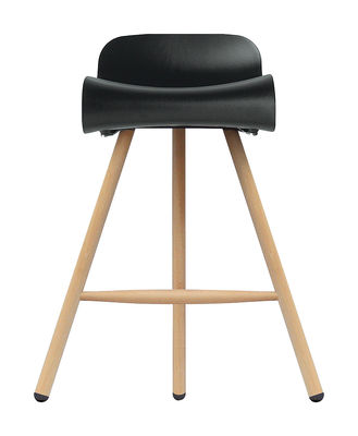 Tabouret de bar BCN Wood / H 66 cm - Pieds bois - Kristalia noir,bois clair en matière plastique
