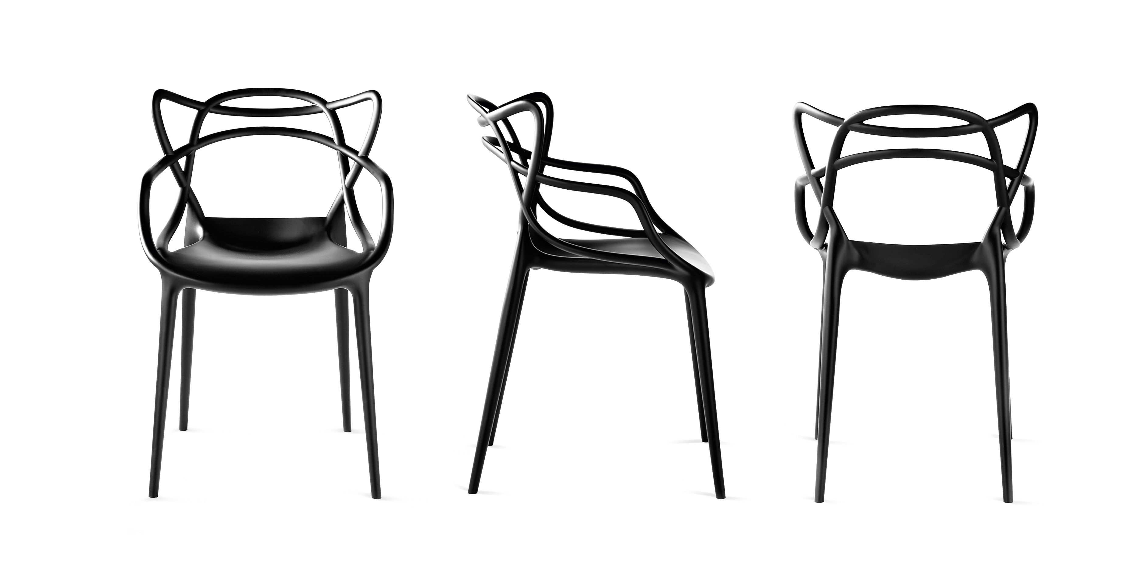 Masters Stackable armchair Plastic Black by Kartell