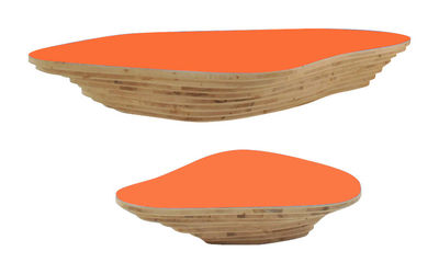 Tavolino Livingisland Viale - modulabile di Smarin - Arancione,Legno chiaro - Legno