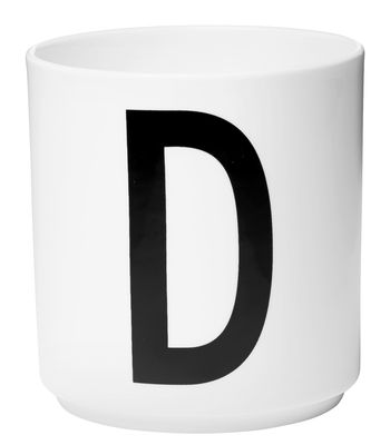 Mug Arne Jacobsen / Porcelaine - Lettre D - Design Letters blanc en céramique