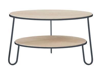 Tavolino basso Eugénie / Ø 70 x H 40 cm - Hartô - Legno naturale,Grigio ardesia - Metallo