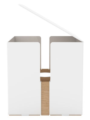 Luminaire - Lampes de table - Lampe de table Light Box LED / H 15 cm - Universo Positivo - Blanc / Chêne naturel - Chêne massif, Métal laqué