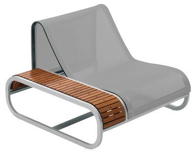 Tandem Lounge Sessel Teak-Ausführung - Armlehne rechts - EGO Paris - Silber,Teak