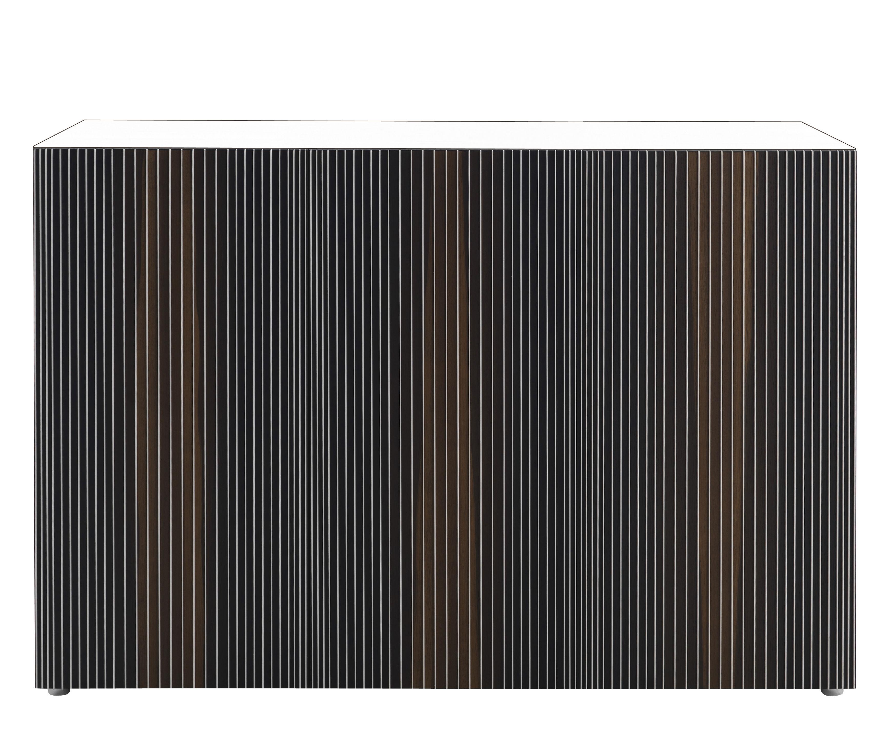 Möbel - Kommode und Anrichte - Carlos Anrichte / 3 Türen - L 144 cm x H 66 cm - Horm - Weiß / Türen mehrfarbig - Chêne thermotraité, Lamifié, Melamin