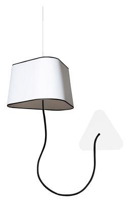 Luminaire - Appliques - Applique avec prise Petit Nuage / L 24 cm / fixation au plafond - Designheure - Tissu blanc avec bordure noire - Polycarbonate, Tissu