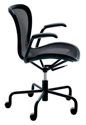 Furniture - Teen furniture - Annett Armchair on casters by Magis - Black / black frame - Fishnet fabric, Polypropylene, Varnished steel
