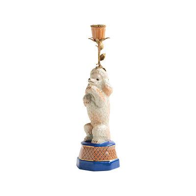 Déco - Bougeoirs, photophores - Bougeoir Caniche / Porcelaine & laiton - H 31,5 cm - & klevering - Caniche - Laiton, Porcelaine