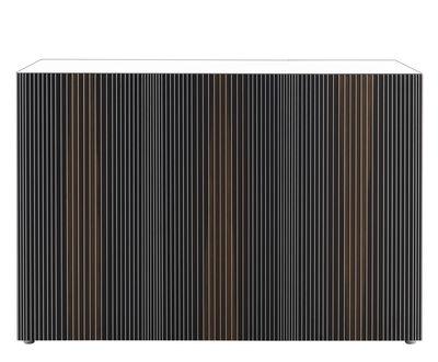 Mobilier - Commodes, buffets & armoires - Buffet Carlos / 3 portes -  L 144 x H 66 cm - Horm - Blanc / Portes multicolores - Chêne thermotraité, Lamifié, Mélamine
