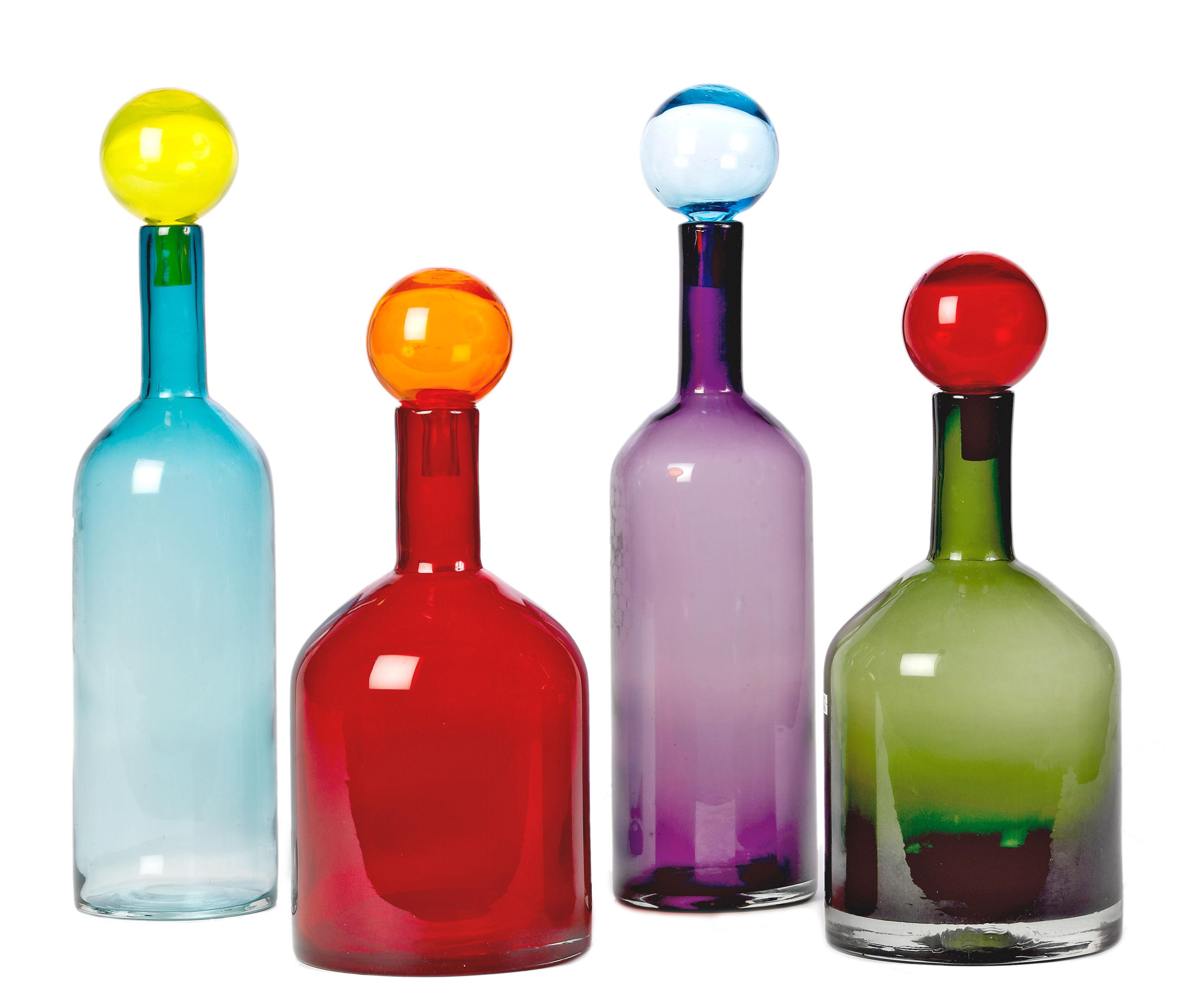Arts de la table - Carafes et décanteurs - Carafe Bubbles & Bottles / Verre - Set de 4 - Pols Potten - Multicolore - Verre teinté dans la masse