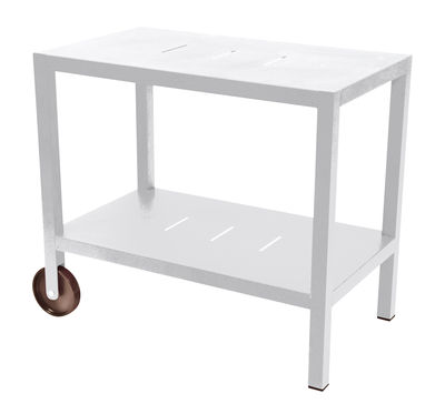 Arredamento - Complementi d'arredo - Carrello - tavolo d'appoggio Quiberon / Supporto per plancha - Fermob - Bianco cotone - Acciaio, Alluminio