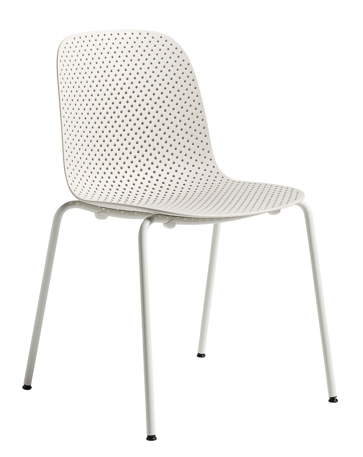 Mobilier - Chaises, fauteuils de salle à manger - Chaise empilable 13eighty / Plastique perforé - Hay - Blanc - Acier laqué époxy, Polypropylène perforé