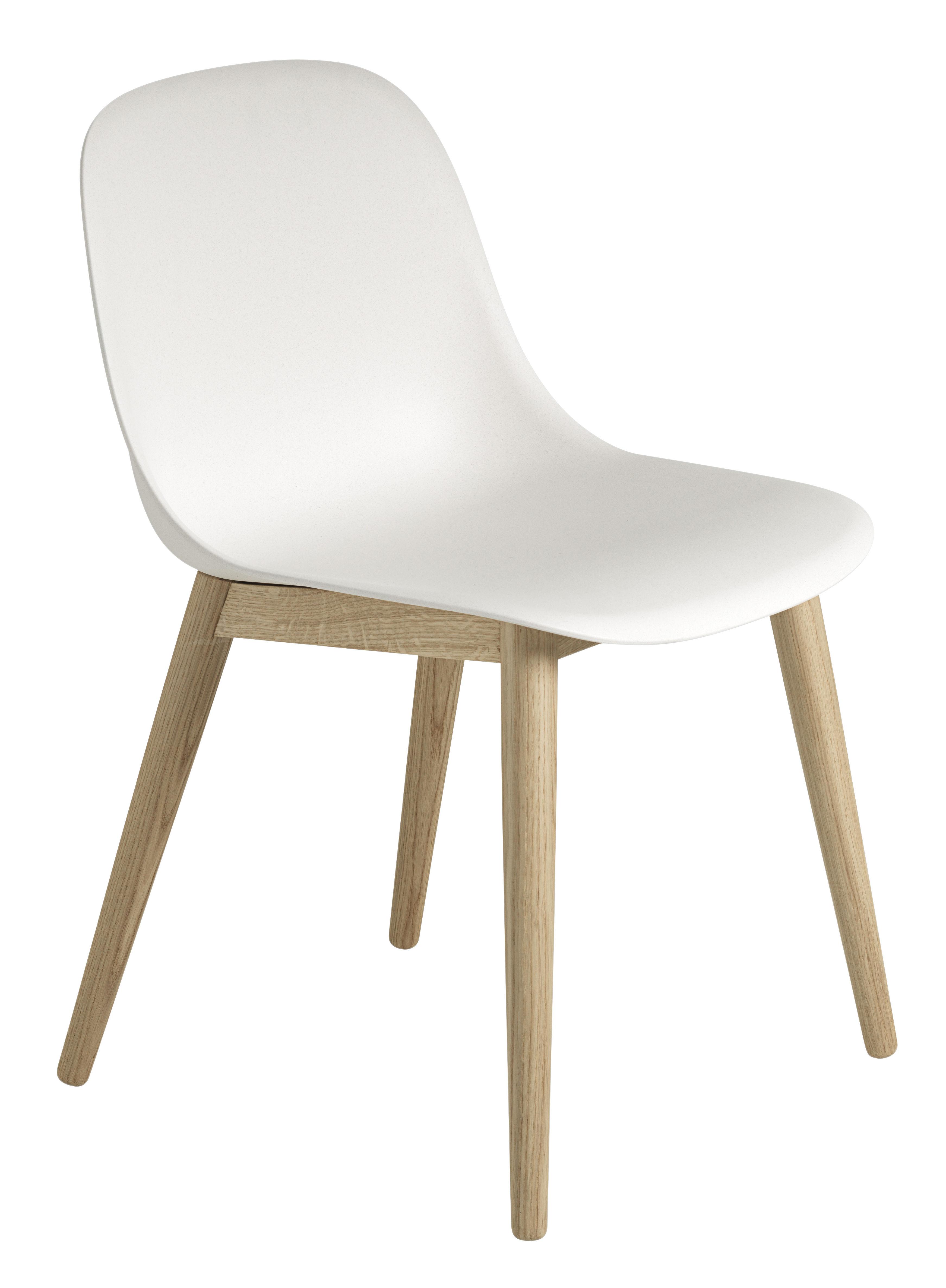 Mobilier - Chaises, fauteuils de salle à manger - Chaise Fiber / Pieds bois - Muuto - Blanc / Pieds bois naturel - Chêne, Matériau composite recyclé
