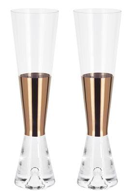Tableware - Wine Glasses & Glassware - Tank Champagne glass - Set of 2 - Exclusivity by Tom Dixon - Transparent / Copper - Copper, Glass
