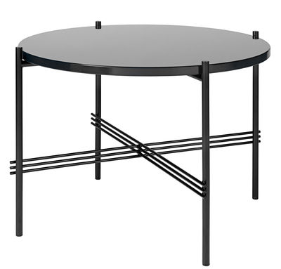 Furniture - Coffee Tables - TS Coffee table - Gamfratesi -  Ø 55 cm x H 41 cm / Glass by Gubi - Glass top / Graphite black structure - Glass, Lacquered metal