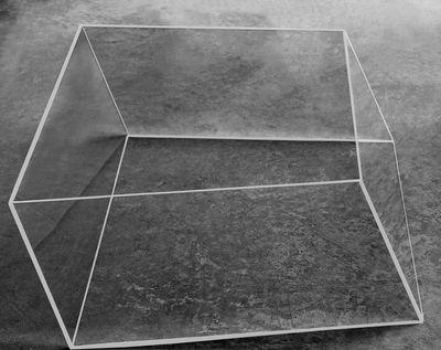 Möbel - Couchtische - Wireframe Couchtisch 75 x 87 cm - Glas Italia - Transparent - weiße Kanten - Hartglas