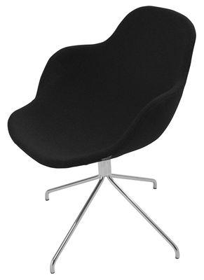 Mobilier - Chaises, fauteuils de salle à manger - Fauteuil pivotant Palma / Rembourré - Offecct - Noir - Acier chromé, Tissu
