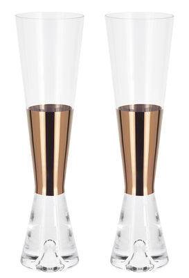 Flûte à champagne Tank / Lot de 2 - Tom Dixon cuivre,transparent en verre