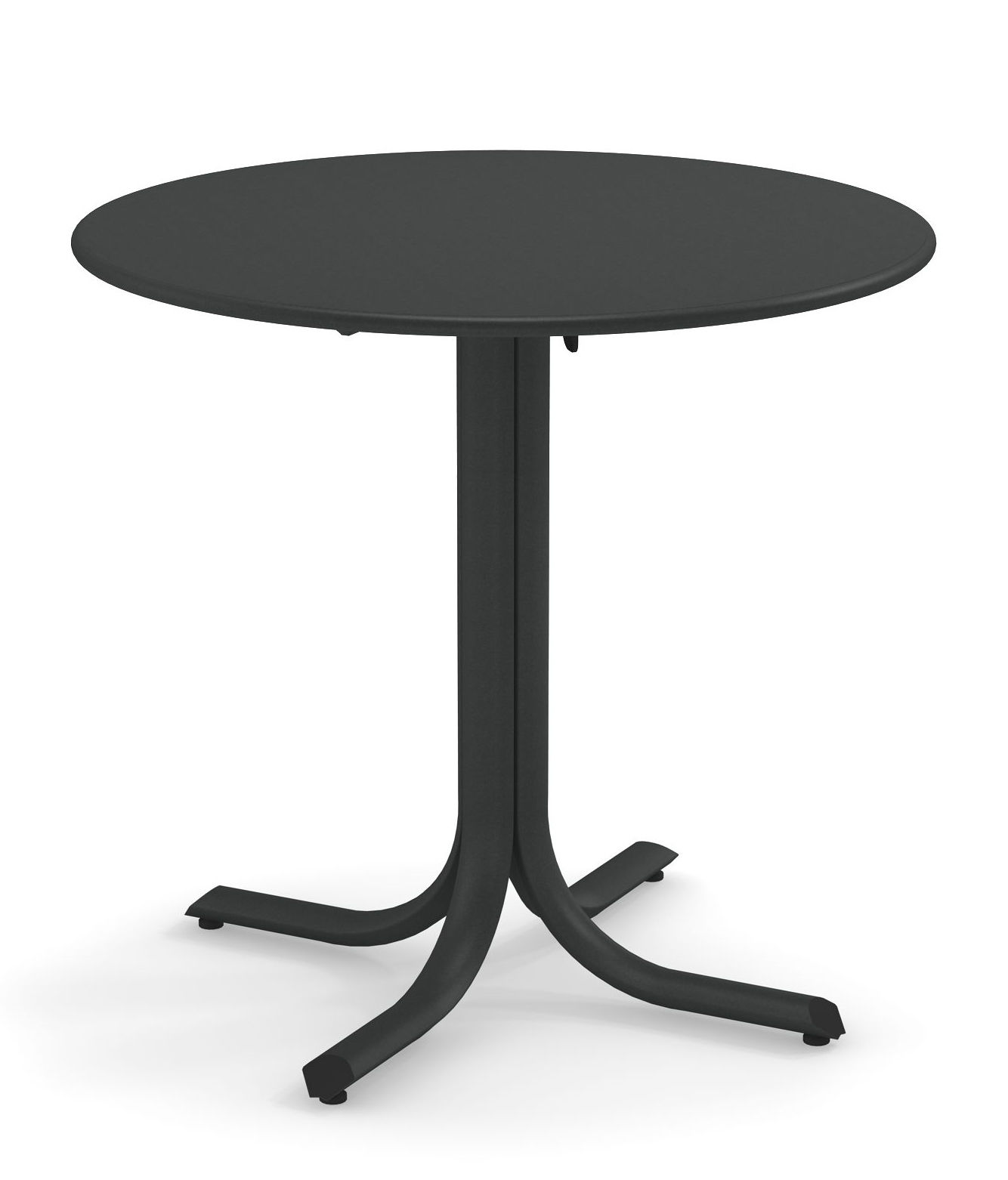 Outdoor - Garden Tables - System Foldable table - / Ø 80 cm by Emu - Antique iron - Galvanised painted steel