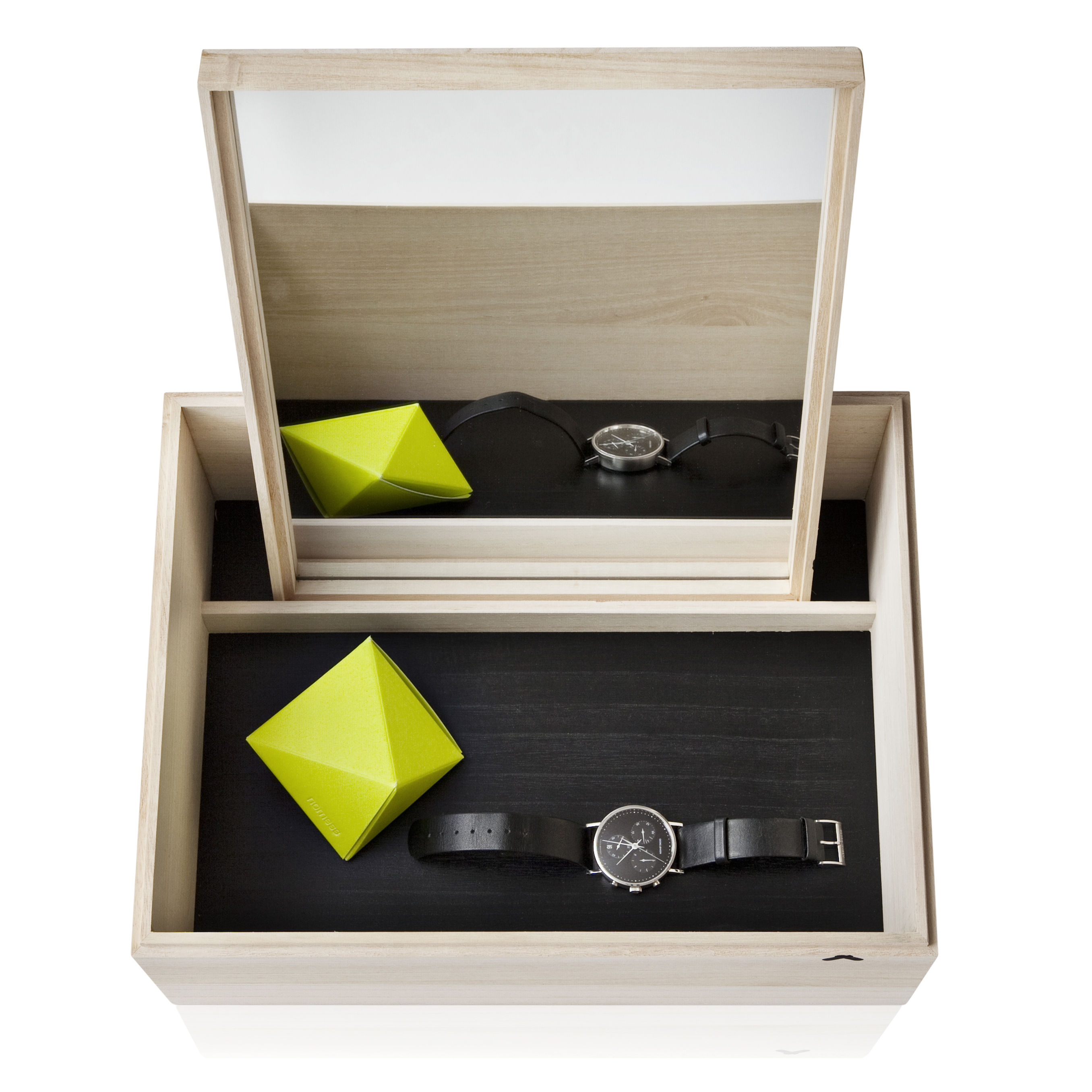 Accessories - Bathroom Accessories - Balsabox Personal MINI Jewellery box by Nomess - Natural wood / Black inside - Plywood